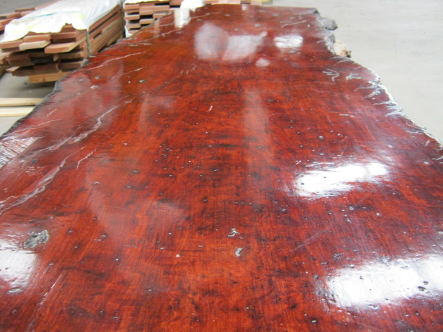 Finished Natural Edge Slab Redgum Close Up