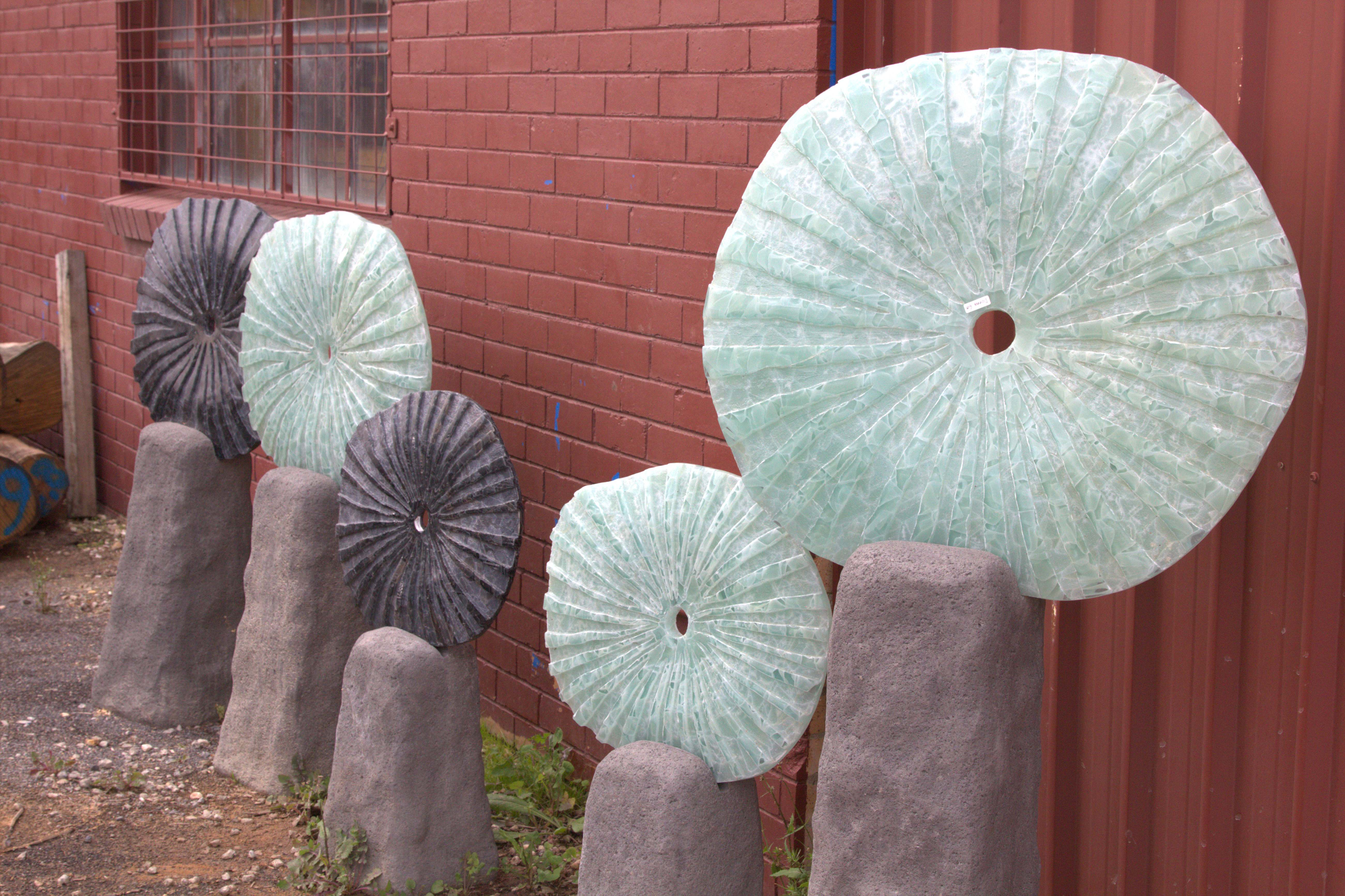 Glass Discs Garden Art