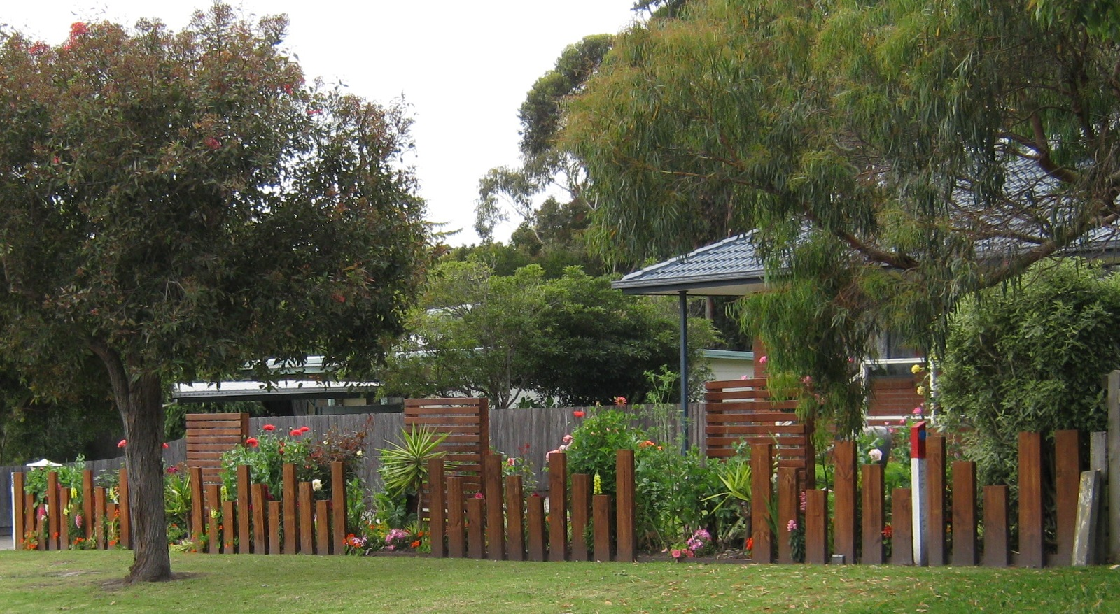 Redgum Sleeper Fence